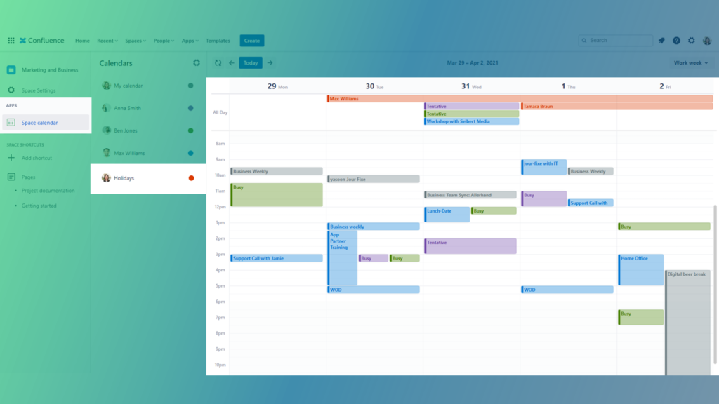 Outlook Calendars for Confluence Holidays / Vacation leave